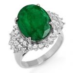 7.56 ctw Emerald & Diamond Ring 18K White