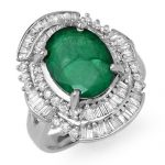 5.95 ctw Emerald & Diamond Ring 18K White