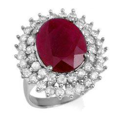 9.83 ctw Ruby & Diamond Ring 18K White