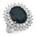 15.55 ctw Blue Sapphire & Diamond Ring 18K White