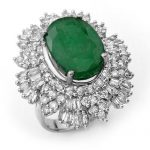 11.65 ctw Emerald & Diamond Ring 18K White