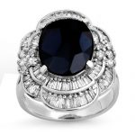 7.85 ctw Blue Sapphire & Diamond Ring 18K White