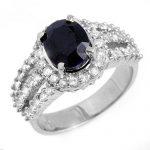 4.70 ctw Blue Sapphire & Diamond Ring 18K White