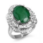 7.04 ctw Emerald & Diamond Ring 18K White