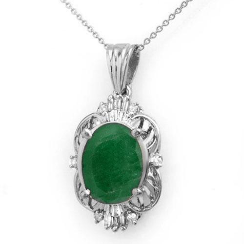 5.88 ctw Emerald & Diamond Pendant 18K White