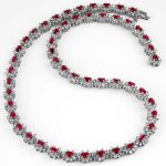 27.10 ctw Ruby & Diamond Necklace 18K White