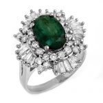 3.90 ctw Emerald & Diamond Ring 18K White