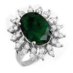 6.45 ctw Emerald & Diamond Ring 18K White