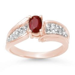 1.43 ctw Ruby & Diamond Ring 14K Rose