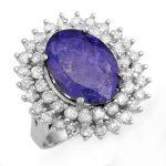 8.78 ctw Tanzanite & Diamond Ring 18K White
