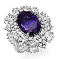 13.25 ctw Tanzanite & Diamond Ring 18K White