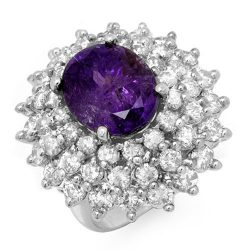 12.50 ctw Tanzanite & Diamond Ring 18K White