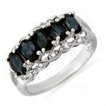 2.0 ctw Blue Sapphire & Diamond Ring 18K White