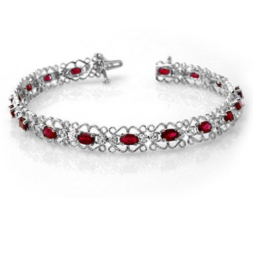 4.22 ctw Ruby & Diamond Bracelet 14K White