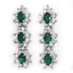2.52 ctw Emerald & Diamond Earrings 18K White
