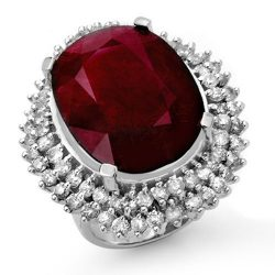 31.12 ctw Ruby & Diamond Ring 18K White