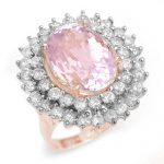 12.08 ctw Kunzite & Diamond Ring 14K Rose