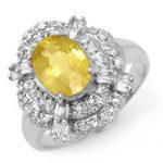 3.05 ctw Yellow Sapphire & Diamond Ring 18K White