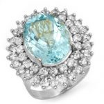 10.50 ctw Aquamarine & Diamond Ring 18K White