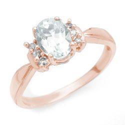 1.06 ctw Aquamarine & Diamond Ring 14K Rose