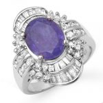 5.20 ctw Tanzanite & Diamond Ring 18K White