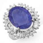12.75 ctw Tanzanite & Diamond Ring 18K White
